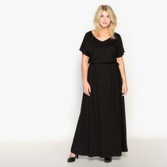 Μακρύ φόρεμα με κοντά μανίκια. Λαιμόκοψη V. Ρυθμιζόμενη ζώνη. Μήκος πίσω  140 εκ 69ba6c1b827