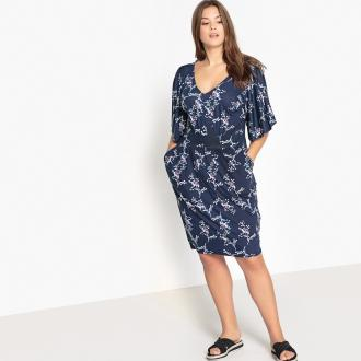 600b214ece2c Εβαζέ φόρεμα με κοντά μανίκια και V λαιμόκοψη. Πολύ θηλυκό
