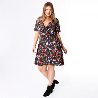 Κοντομάνικο εμπριμέ φλοράλ φόρεμα LOVEDROBE με κρουαζέ σχέδιο και μήκος  μέχρι τα γόνατα. Ντεκολτέ σε 1db91834e88