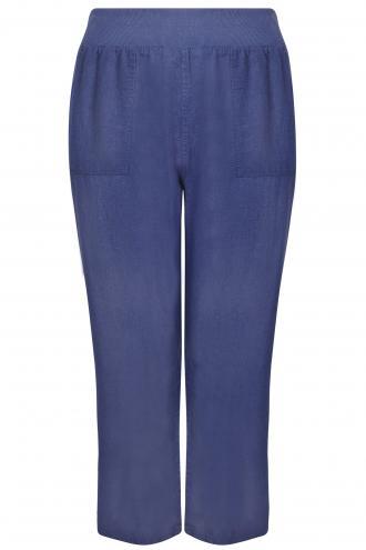 67c548026000 Παντελόνα λινή σε μπλε χρώμα με τσέπες στο πλάι και πίσω. Ιδανική για τις  καλοκαιρινές