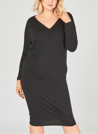 Μίντι φόρεμα με V ντεκολτέ και μανίκι νυχτερίδα. Τα πάνω μέρος του φορέματος  είναι πιο 8a572822ace