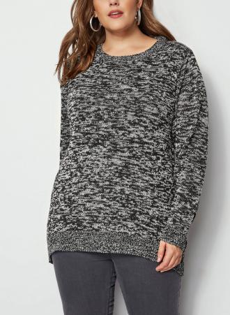 b47470744111 Πλεκτή μπλούζα με ασύμμετρη πλάτη και στρογγυλή λαιμόκοψη. Ιδανική για τις  κρύες μέρες του χειμώνα