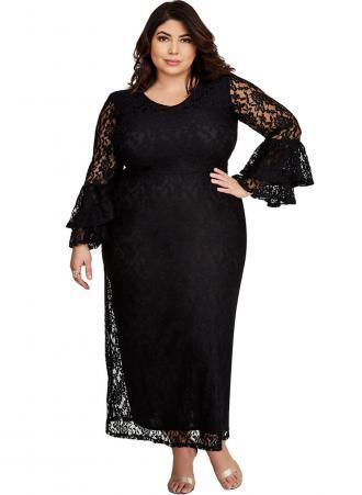 Φόρεμα μάξι δαντέλα με διπλά μανίκια καμπάνα για μια πιο στυλάτη εμφάνιση.  Διαθέτει στρογγυλή λαιμόκοψη a59c7e47d6c