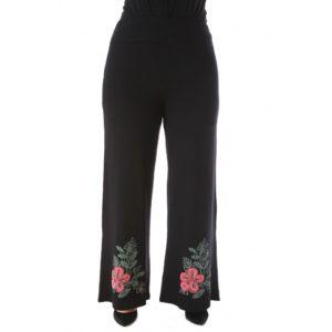 Παντελόνα με φλόκο τύπωμα μαύρη