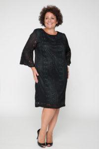 Φόρεμα δαντέλα καμπάνα μανίκι