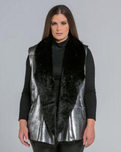 Γιλέκο σε metallic απόχρωση με faux-fur επένδυση
