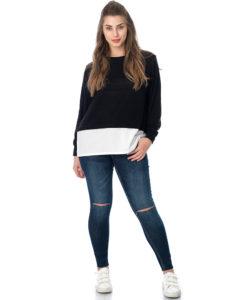 Curvy πλεκτή μπλούζα με συνδυασμό ποπλίνα