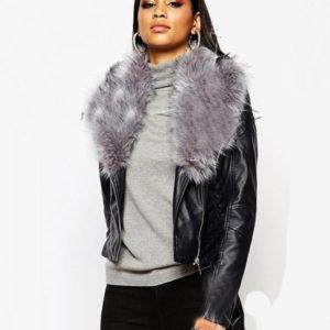 Μπουφάν γυναικείο jacket δερμάτινο με γούνα
