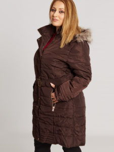 Plus size long belted jacket with removable faux fur detail