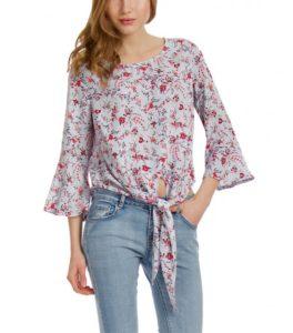 Ριγέ μπλούζα με λουλούδια