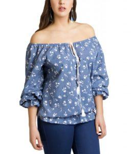 Βαμβακερή μπλούζα με φλοράλ κεντήματα