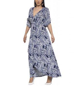 Μπλε ντραπε εμπριμέ φόρεμα