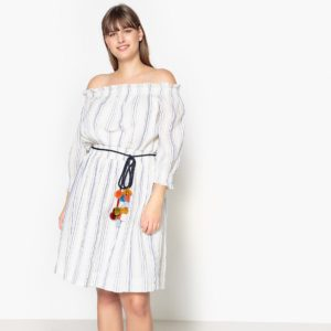 Στράπλες ριγέ φόρεμα