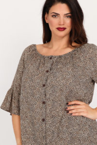 Off-shoulder λεοπαρ μπλουζοπουκάμισο & μανίκια καμπάνα