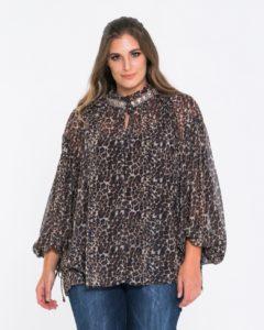 Μπλούζα με animal print και διακόσμηση στο λαιμό