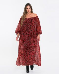 Maxi φόρεμα με animal print και πτυχώσεις