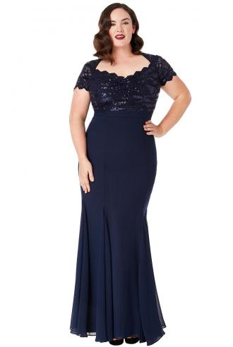 plus size επίσημο glam φόρεμα mermaid Ines σε μπλε navy Perfect Dress