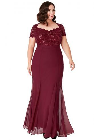 plus size επίσημο glam φόρεμα mermaid Ines σε μπορντώ Perfect Dress