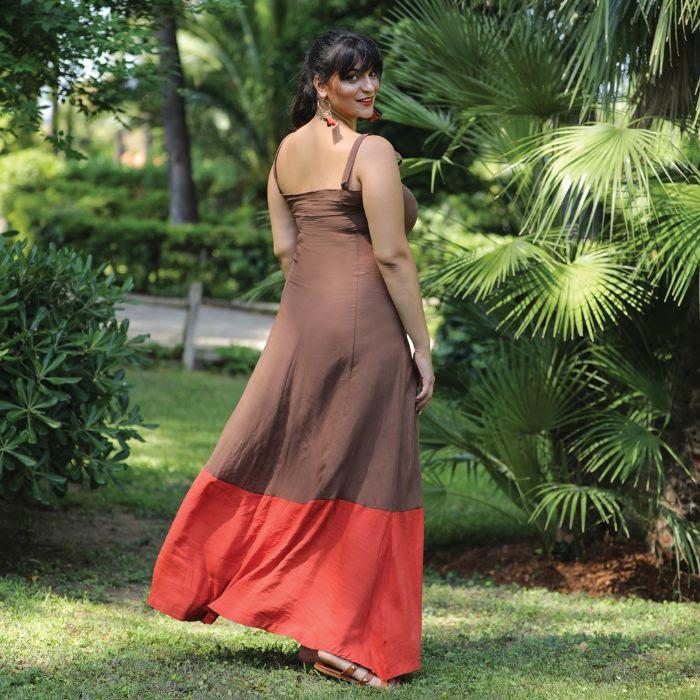 Λινό Δίχρωμο Μάξι Φόρεμα | 63€ από 79€