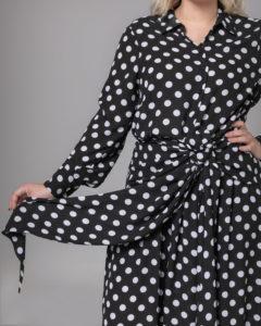 Σεμιζιέ πουά φόρεμα με ζώνη