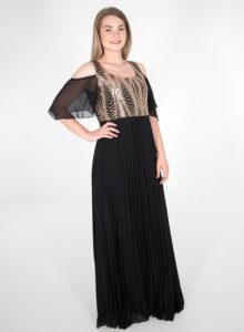 Αμπιγιέ μαύρο φόρεμα με παγιέτες στο μπούστο